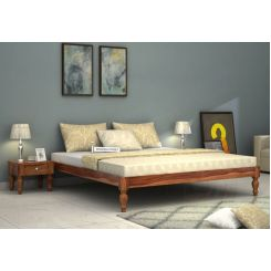 Trae Bed Without Storage (King Size, Teak Finish)