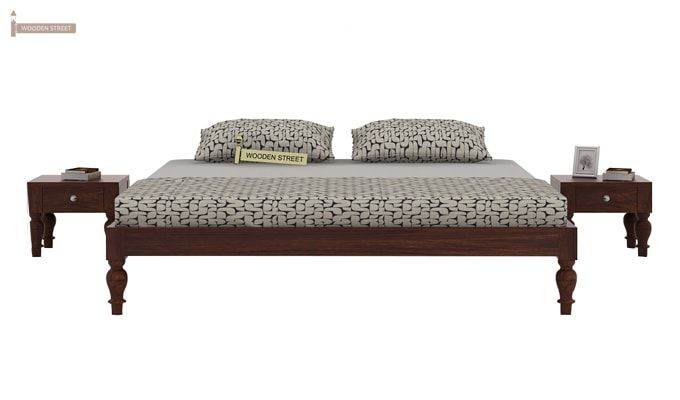 Trae Bed Without Storage (Queen Size, Walnut Finish)-2
