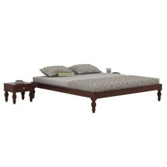 Trae Bed Without Storage (King Size, Walnut Finish)