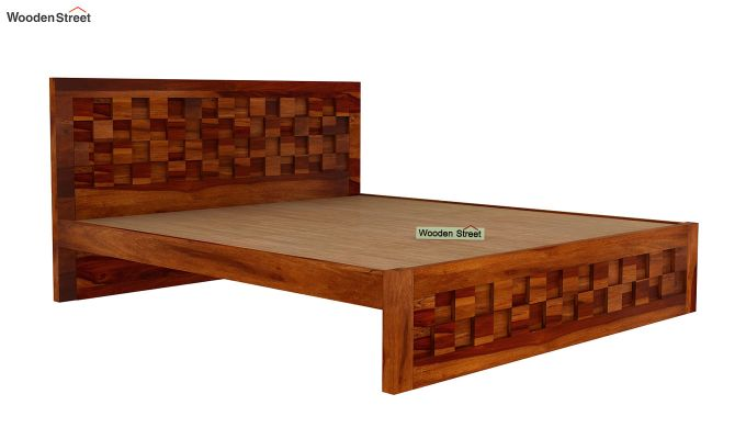 Travis Bed Without Storage (King Size, Honey Finish)-4