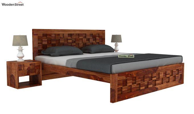 Travis Bed Without Storage (King Size, Teak Finish)-2
