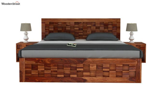 Travis Bed Without Storage (King Size, Teak Finish)-3