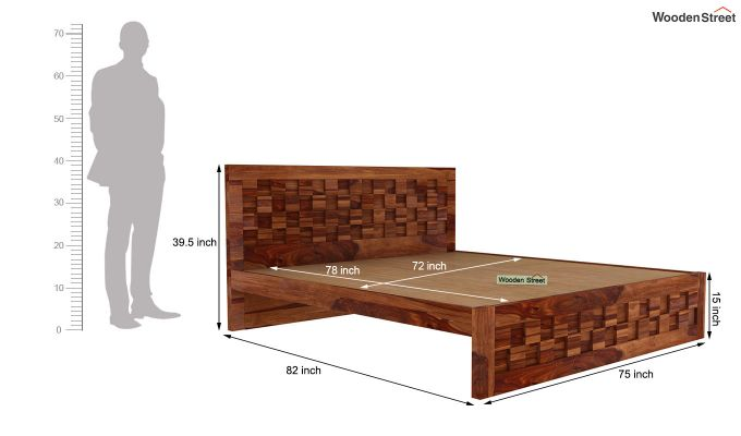 Travis Bed Without Storage (King Size, Teak Finish)-5