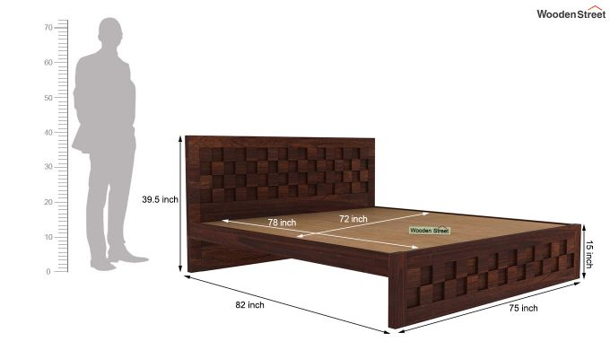 Travis Bed Without Storage (King Size, Walnut Finish)-5