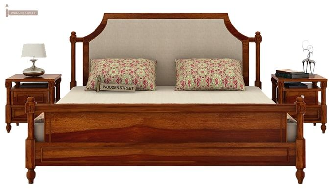 Ventur Bed Without Storage (King Size, Honey Finish)-2