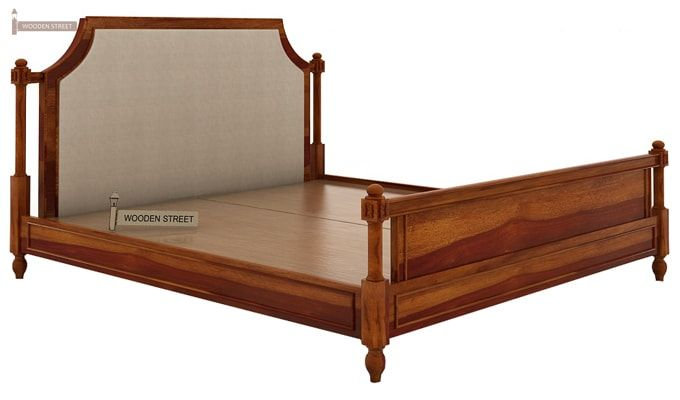 Ventur Bed Without Storage (Queen Size, Honey Finish)-4