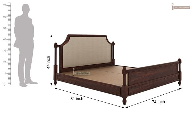 Ventur Bed Without Storage (King Size, Walnut Finish)-5