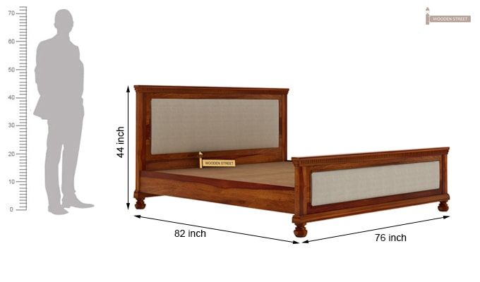 Volgan Bed Without Storage (King Size, Honey Finish)-6
