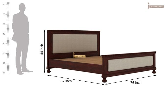 Volgan Bed Without Storage (King Size, Mahogany Finish)-7