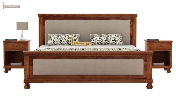 Volgan Bed Without Storage (King Size, Teak Finish)-2