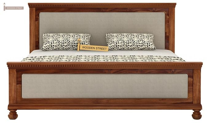 Volgan Bed Without Storage (Queen Size, Teak Finish)-4