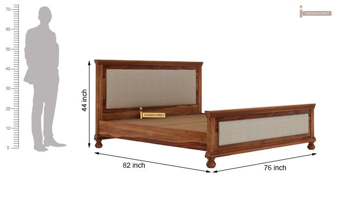 Volgan Bed Without Storage (King Size, Teak Finish)-6