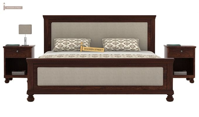 Volgan Bed Without Storage (Queen Size, Walnut Finish)-2