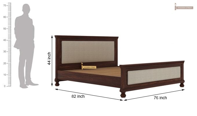 Volgan Bed Without Storage (King Size, Walnut Finish)-5