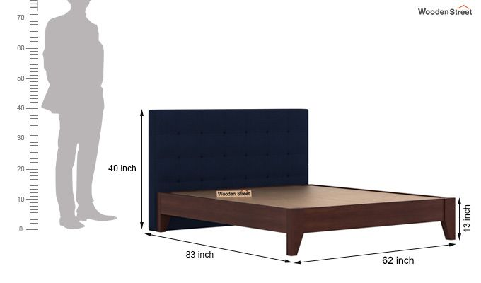 Wagner Upholstered Bed Without Storage (Queen Size, Indigo Ink)-6