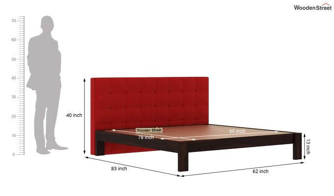 Wagner Upholstered Bed Without Storage (Queen Size, Dusky Rose)-6