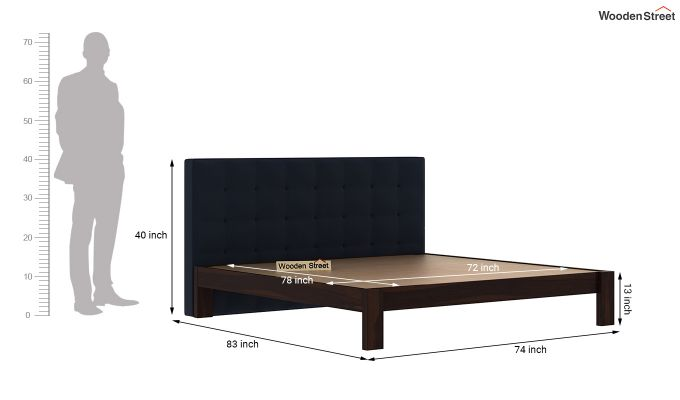 Wagner Upholstered Bed Without Storage (King Size, Indigo Ink)-6
