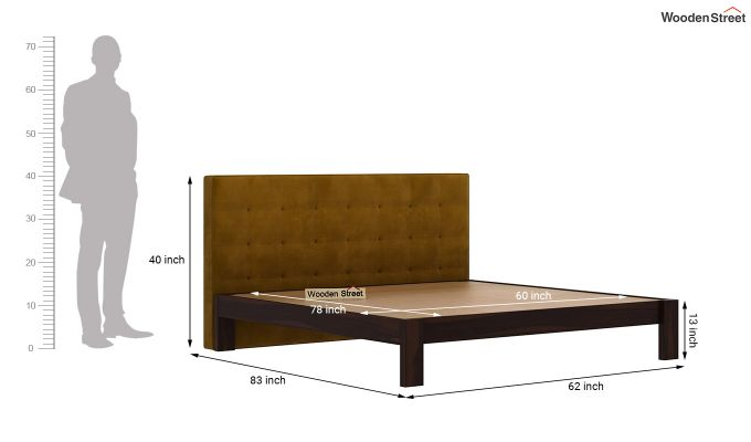 Wagner Upholstered Bed Without Storage (Queen Size, Chestnut Brown)-6