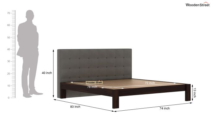 Wagner Upholstered Bed Without Storage (King Size, Warm Grey)-6