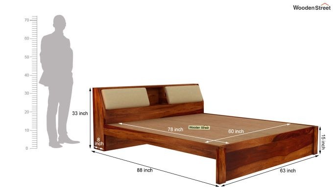 Walken Bed Without Storage (Queen Size, Honey Finish)-7