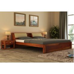 Walken Bed Without Storage (King Size, Honey Finish)