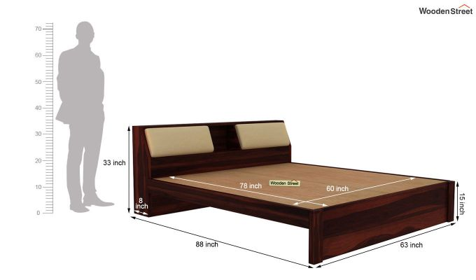 Walken Bed Without Storage (Queen Size, Walnut Finish)-7
