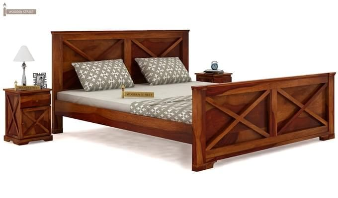 Warner Bed Without Storage (Queen Size, Honey Finish)-1