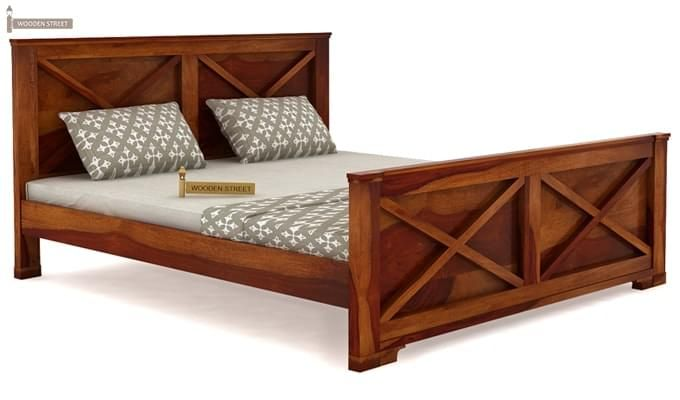 Warner Bed Without Storage (Queen Size, Honey Finish)-3