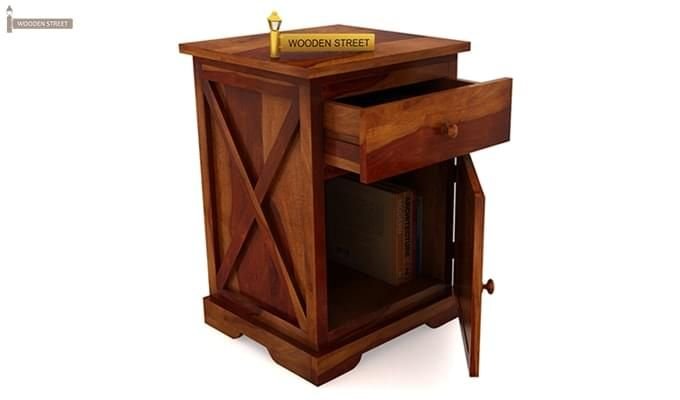 Warner Bedside Table (Honey Finish)-5