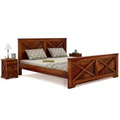 Warner Bed Without Storage (Queen Size, Honey Finish)