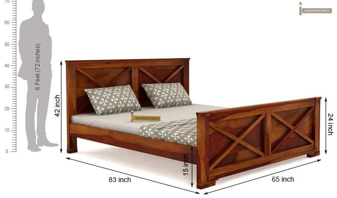 Warner Bed Without Storage (Queen Size, Honey Finish)-4