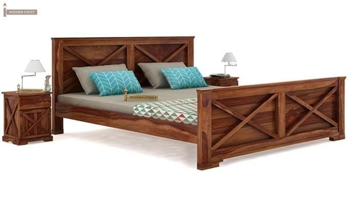 Warner Bed Without Storage (Queen Size, Teak Finish)-2