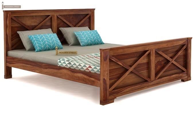 Warner Bed Without Storage (Queen Size, Teak Finish)-4