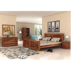 Warner Bed Without Storage (King Size, Teak Finish)