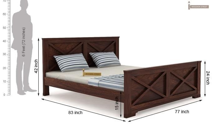 Warner Bed Without Storage (King Size, Walnut Finish)-4