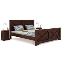 Warner Bed Without Storage (King Size, Walnut Finish)