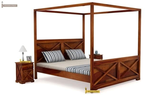 Warner Poster Bed Without Storage (King Size, Honey Finish)-1