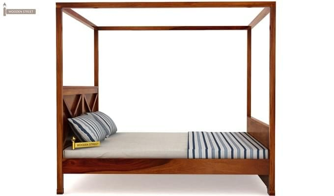 Warner Poster Bed Without Storage (King Size, Honey Finish)-6