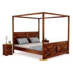 Warner Poster Bed Without Storage (King Size, Honey Finish)