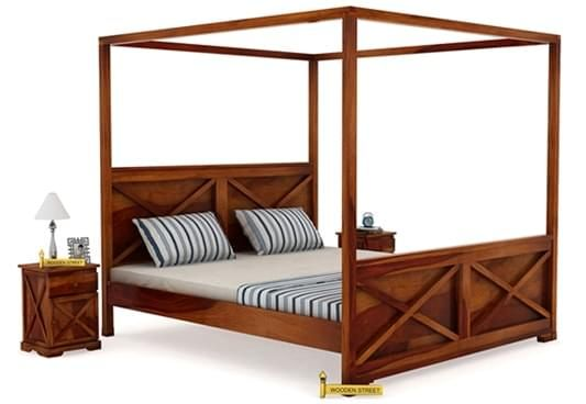 Warner Poster Bed Honey Finish