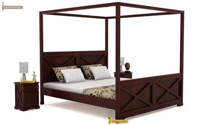 Warner Poster Bed Without Storage (Queen Size, Mahogany Finish)-1