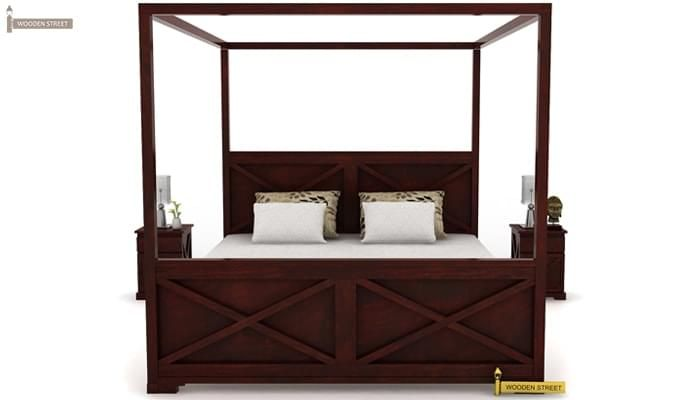 Warner Poster Bed Without Storage (Queen Size, Mahogany Finish)-2