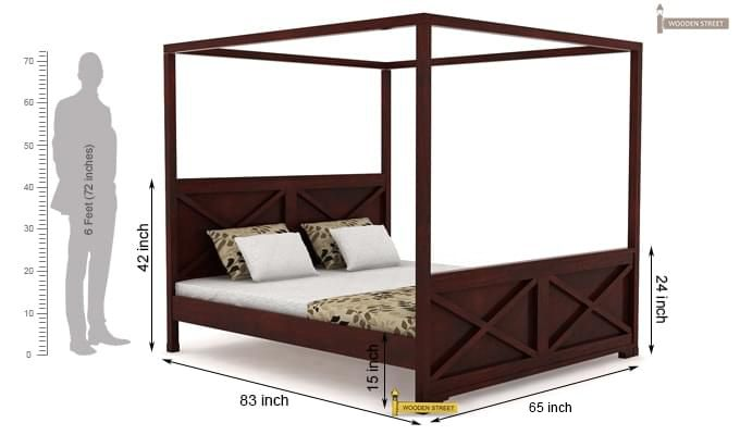 Warner Poster Bed Without Storage (Queen Size, Mahogany Finish)-4