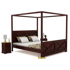 Warner Poster Bed Without Storage (King Size, Mahogany Finish)