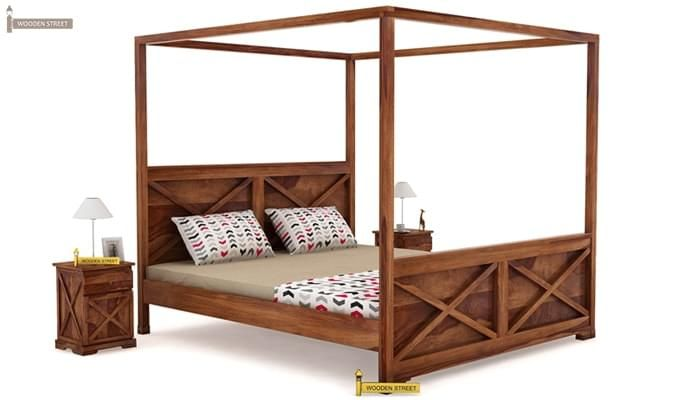 Warner Poster Bed Without Storage (Queen Size, Teak Finish)-1