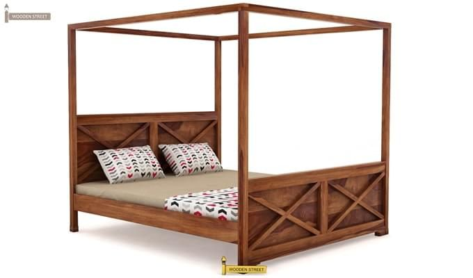 Warner Poster Bed Without Storage (Queen Size, Teak Finish)-2