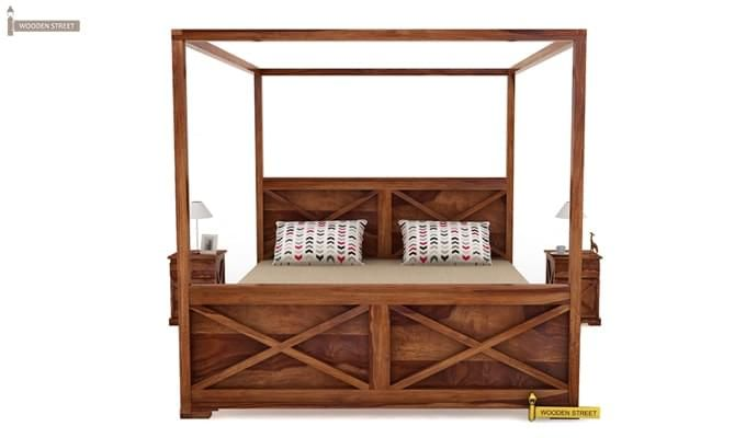 Warner Poster Bed Without Storage (King Size, Teak Finish)-3