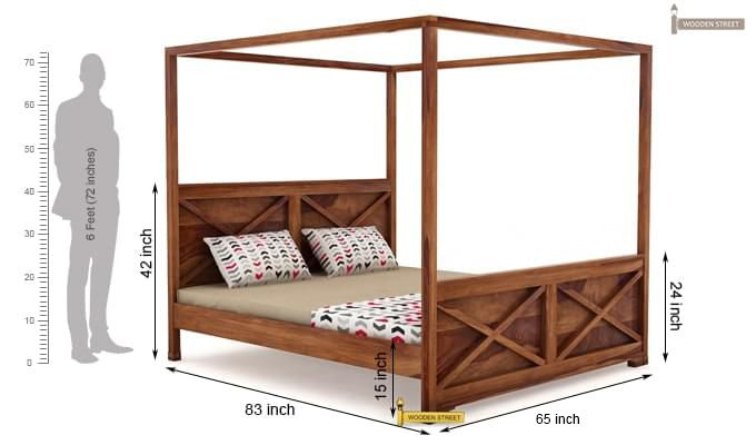 Warner Poster Bed Without Storage (Queen Size, Teak Finish)-4