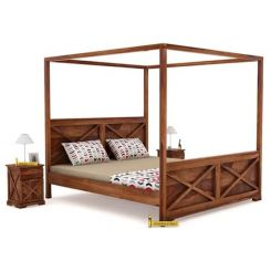 Warner Poster Bed Without Storage (Queen Size, Teak Finish)