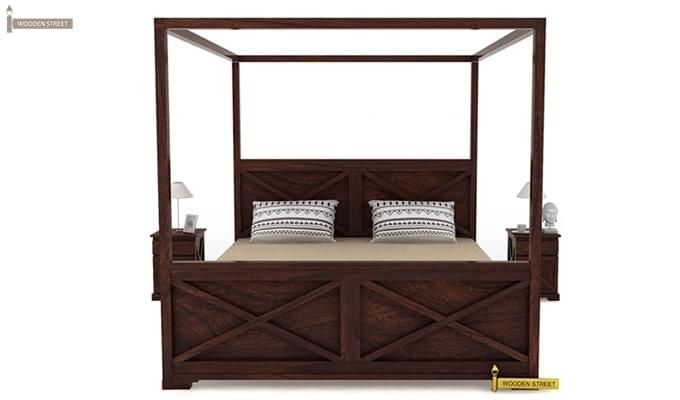 Warner Poster Bed Without Storage (King Size, Walnut Finish)-2